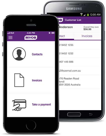 MYOB on the go smartphone app
